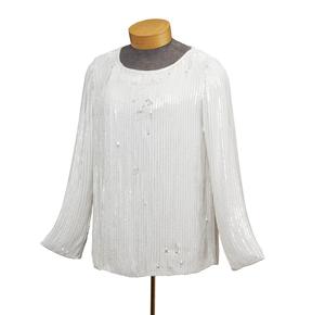 Yves Saint Laurent White Sequin Top