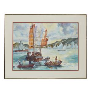 Don Pagano Watercolor, Hong Kong Harbor
