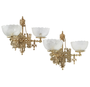 Mid 19th Century American Gothic Revival Gas Sconces