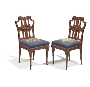 Two Aesthetic Movement Side Chairs, attributed to Herter Brothers