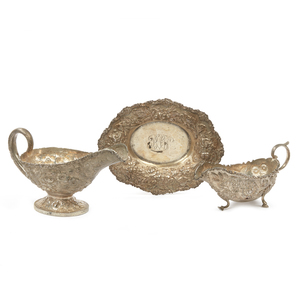 3 Piece Repousse Sterling Silver Holloware, 18.90 ozt