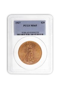 1927 Gold $20. Saint Gaudens Coin PCGS MS65
