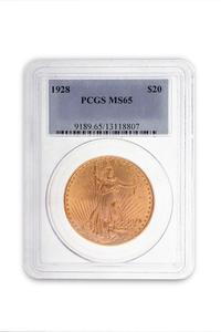 1928 Gold $20. Saint Gaudens Coin PCGS MS65