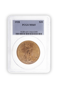 1928 Gold $20 Saint Gaudens Coin PCGS MS65