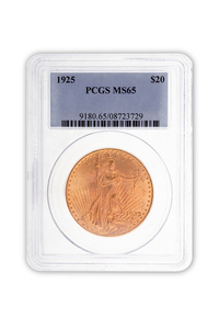 1925 Gold $20 Saint Gaudens Coin PCGS MS65