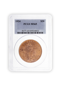 1924 Gold $20 Saint Gaudens Coin PCGS MS65
