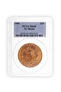 1908 Gold $20 Saint Gaudens Coin PCGS MS65