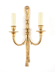 A PAIR OF NEO-CLASSICAL STYLE GILT BRONZE TWO LIGHT WALL SCONCES, 20TH CENTURY,