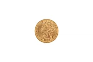 1882 Gold $5 Liberty Coin BU