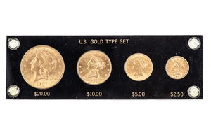1907 Gold Type Set Consisting of $20, $10, $5, and $2.5 Liberty Coins