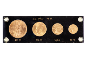 Gold Type Set Consisting of 1927 $20, 1932 $10, 1912 $5 and 1912 $2.5 Saint Gaudens Coins all grade BU