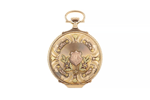 Elgin Tri-Color Gold Pocket Watch with Stag, circa 1920