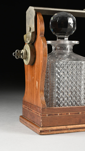 A THREE BACCARAT BOTTLE AND PARQUETRY INLAID WALNUT TANTALUS, MARKED, EARLY 20TH CENTURY,