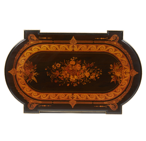 19th Century New York Ebonized and Marquetry Parlor Table