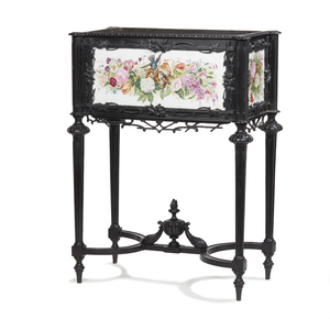 Fine 19th Century Ebonized and Tile Jardiniere