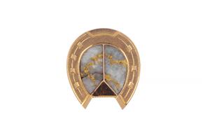 Boxed Gold and Quartz Horseshoe Form Lapel Pin, circa 1915