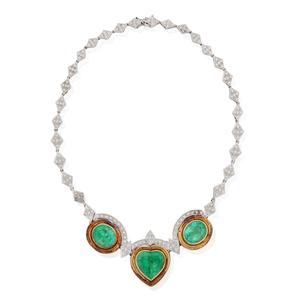 18k Emerald and Diamond Necklace