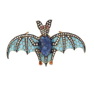Plique-a-Jour Diamond Ruby and Sapphire Bat Brooch