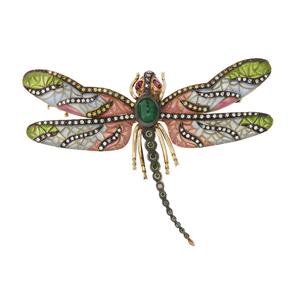 Plique-a-jour Dragon Fly Brooch