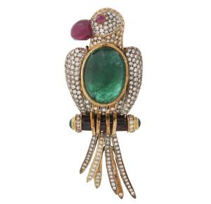 18k Diamond Emerald & Ruby Brooch