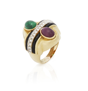 18k Emerald, Ruby and Diamond Ring