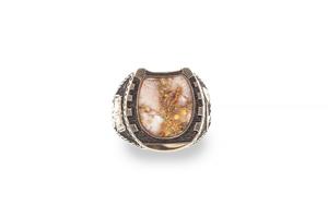 14k Gold Quartz Horseshoe Form Ring