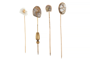 Four Gold Quartz Stick Pins, 12 grams