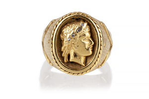 14k Yellow Gold Medallion Ring