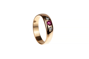 Men's 14k Gold, Diamond and Ruby Ring, 5 grams