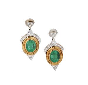 18k Emerald Diamond Earrings