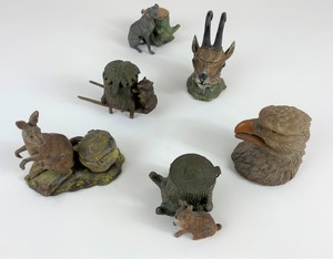 Collection of Cast Iron Animal Form Inkwells