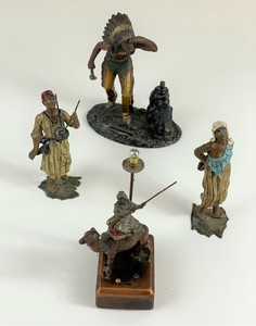 Group of North African and Native American Cast Iron Figures