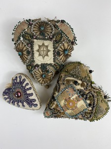 Group of Three Victorian Heart Shaped Pincushions
