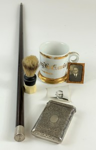 Sterling Card Case, Shaving Mug and Cane Archive of Col. Chauncey H. Crawford