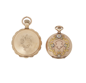 Two Gold Filled Multicolored Pocket Watches
