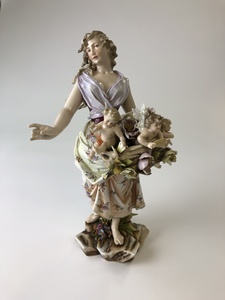 Tall Meissen Figural Group with Woman and Cherubs
