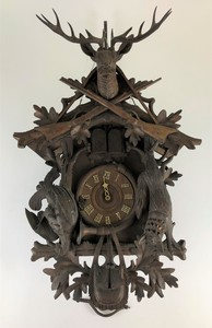 Large Black Forest Carved Cuckoo Clock in Walnut