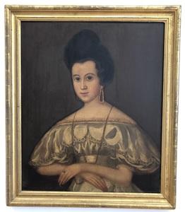 19th Century Folk Art Portrait of a Woman
