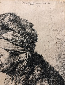 REMBRANDT HARMENSZ. VAN RIJN (1606-1669) AFTER JAN LIEVENS (1607-1674), The Second Oriental Head Etching, 1635