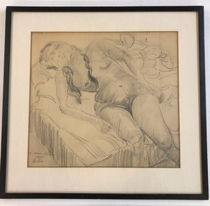 Sir Jacob Epstein (1880-1959) Pencil Sketch, Reclining Nude