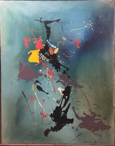 Eduardo Dhelomme (French, b.1920) Large Abstract Composition Oil Painting on Canvas