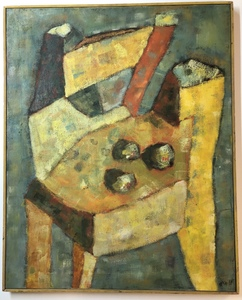 Harry May 1965 Abstract Painting of a Chair