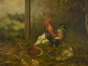 A Pair of English Paintings of Chickens