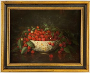 American School Still Life of Rasberries