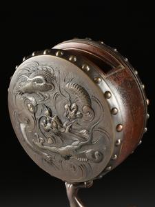 A JAPANESE PATINATED SPELTER FIGURE OF THE DEMON GOD RAIJIN, MEIJI PERIOD (1868-1912),