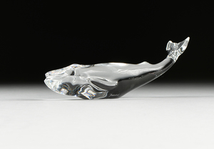 A BACCARAT WHALE PAPERWEIGHT, SIGNED, 20TH CENTURY,