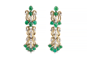 Lady's 18k Diamond Emerald Earrings