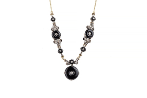 Lady's 18k Onyx and Diamond Necklace