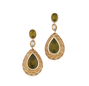 Lady's 14k Peridot Sapphire Diamond Earrings