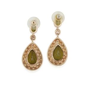Lady's 14k Peridot Sapphire Diamond Earrings